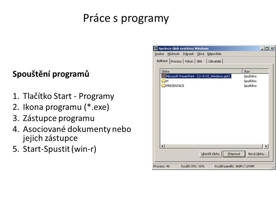 Práce s programy Spouštění programů 1.Tlačítko Start - Programy 2.Ikona programu (*.exe) 3.Zástupce programu 4.Asociované dokumenty nebo jejich zástupce 5.Start-Spustit (win-r)
