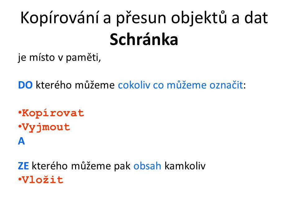 Kopírování a přesun objektů a dat Schránka Způsoby práce se schránkou: 1.^C, ^X, ^V 2.Nástroje na panelu 3.Nabídka Úpravy 4.Pravé tlačítko Přesouvat a kopírovat objekty můžeme také myší Obsah schránky se změní, až jej nahradíme jiným (obsahem) Cvičení: Otevřete soubor P:\Zadani\Polach\TEXTY\Jablka.doc.