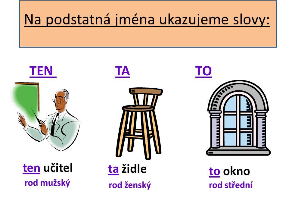 Na podstatná jména ukazujeme slovy: TEN TA TO ten učitel ta židle to okno rod mužský rod ženskýrod střední