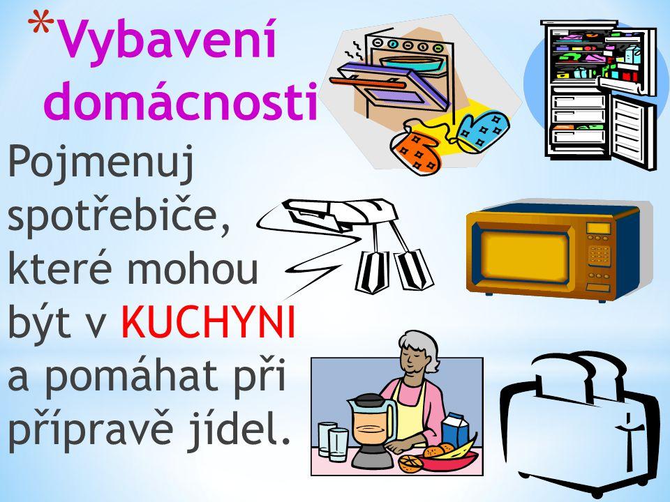 * Vybavení domácnosti Správné odpovědi: -sporák,lednička -ruční šlehač -mikrovlnka -mixér -topinkovač