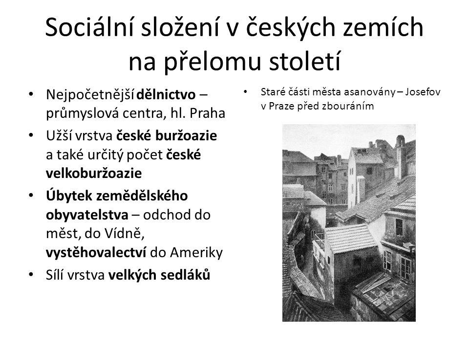 Sociální složení v českých zemích na přelomu století Nejpočetnější dělnictvo – průmyslová centra, hl.