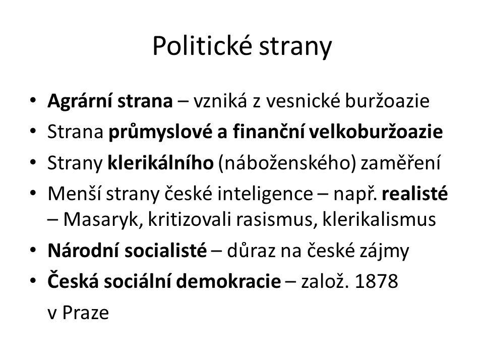 Politické strany Agrární strana – vzniká z vesnické buržoazie Strana průmyslové a finanční velkoburžoazie Strany klerikálního (náboženského) zaměření Menší strany české inteligence – např.