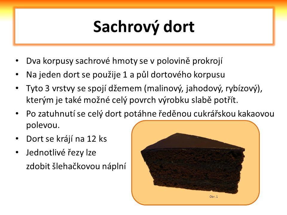 Sachrový dort Dva korpusy sachrové hmoty se v polovině prokrojí Na jeden dort se použije 1 a půl dortového korpusu Tyto 3 vrstvy se spojí džemem (malinový, jahodový, rybízový), kterým je také možné celý povrch výrobku slabě potřít.