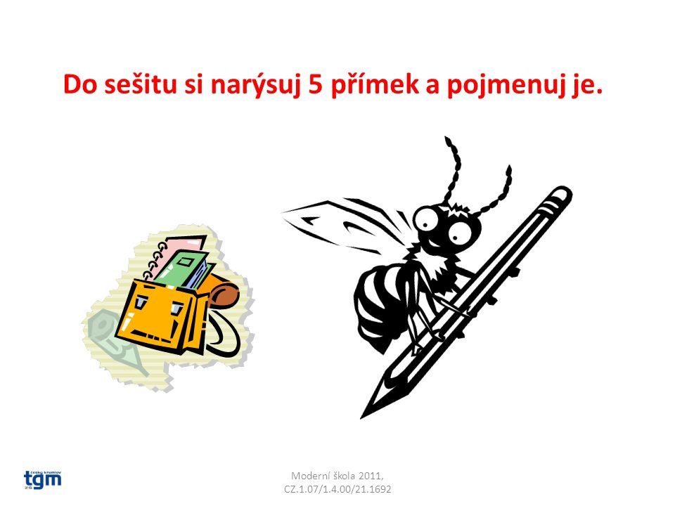 Moderní škola 2011, CZ.1.07/1.4.00/21.1692 Do sešitu si narýsuj 5 přímek a pojmenuj je.