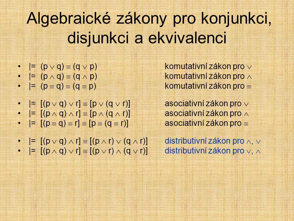 Zákony pro implikaci |= p → (q → p)zákon simplifikace |= (p   p) → qzákon Dunse Scota |= (p → q)  (  q →  p)zákon kontrapozice |= (p → (q → r))  ((p  q) → r)spojování předpokladů |= (p → (q → r))  (q → (p → r))na pořadí předpokladů nezáleží |= (p → q) → ((q → r) → (p → r))hypotetický sylogismus |= ((p → q)  (q → r)) → (p → r)tranzitivita implikace |= (p → (q → r))  ((p → q) → (p → r))Fregův zákon |= (  p → p) → preductio ad absurdum |= ((p → q)  (p →  q)) →  preductio ad absurdum |= (p  q) → p, |= (p  q) → q |= p → (p  q), |= q → (p  q)
