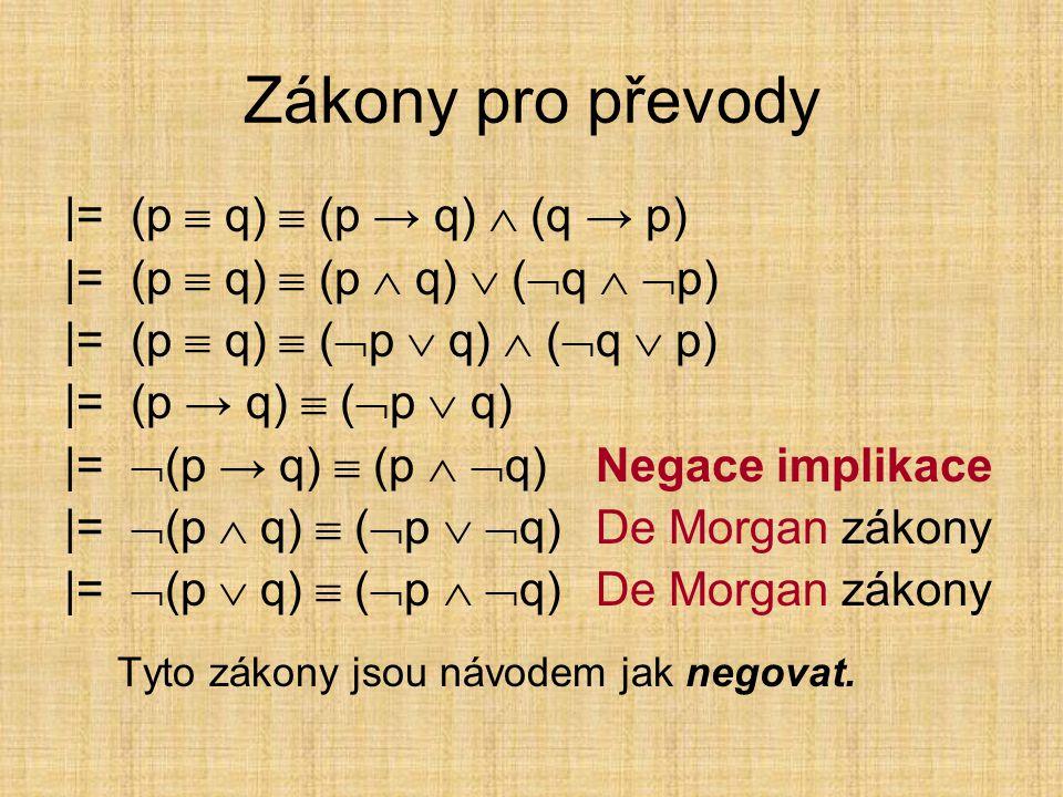 Algebraické zákony pro konjunkci, disjunkci a ekvivalenci |= (p  q)  (q  p)komutativní zákon pro  |= (p  q)  (q  p)komutativní zákon pro  |= (p  q)  (q  p)komutativní zákon pro  |= [(p  q)  r]  [p  (q  r)]asociativní zákon pro  |= [(p  q)  r]  [p  (q  r)]asociativní zákon pro  |= [(p  q)  r]  [p  (q  r)]asociativní zákon pro  |= [(p  q)  r]  [(p  r)  (q  r)]distributivní zákon pro ,  |= [(p  q)  r]  [(p  r)  (q  r)]distributivní zákon pro , 