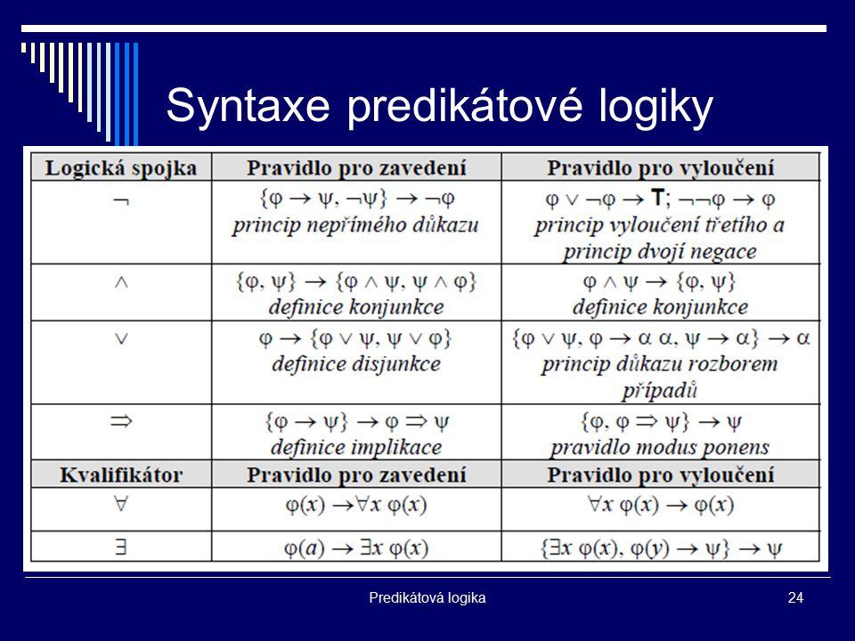 Predikátová logika24 Syntaxe predikátové logiky