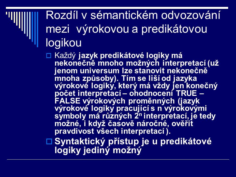 Rozdíl v sémantickém odvozování mezi výrokovou a predikátovou logikou  Každý jazyk predikátové logiky má nekonečně mnoho možných interpretací (už jen