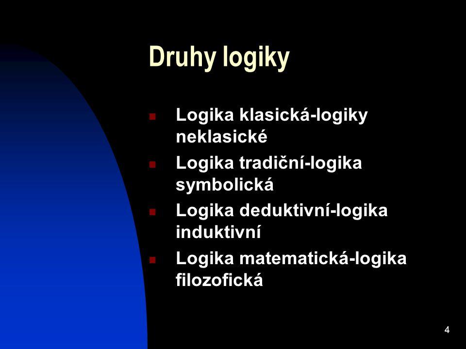 4 Druhy logiky Logika klasická-logiky neklasické Logika tradiční-logika symbolická Logika deduktivní-logika induktivní Logika matematická-logika filoz