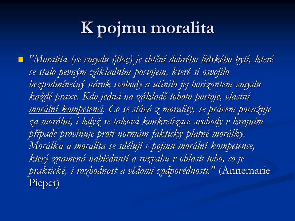 K pojmu moralita Moralita (ve smyslu ήθος) je chtění dobrého lidského bytí, které se stalo pevným základním postojem, které si osvojilo bezpodmínečný nárok svobody a učinilo jej horizontem smyslu každé praxe.