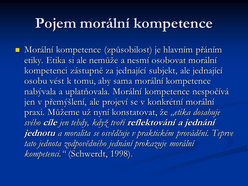 Pojem morální kompetence Morální kompetence (způsobilost) je hlavním přáním etiky.