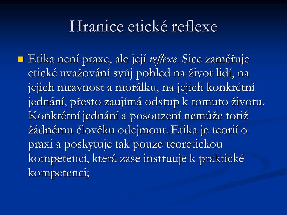Hranice etické reflexe Etika není praxe, ale její reflexe.