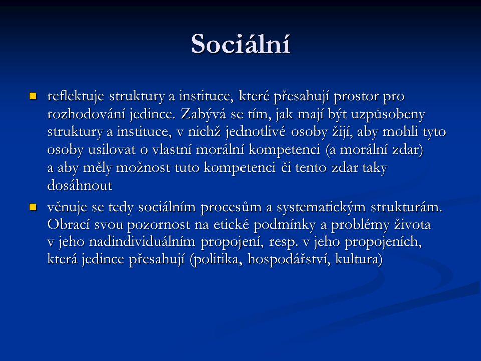 Sociální reflektuje struktury a instituce, které přesahují prostor pro rozhodování jedince.