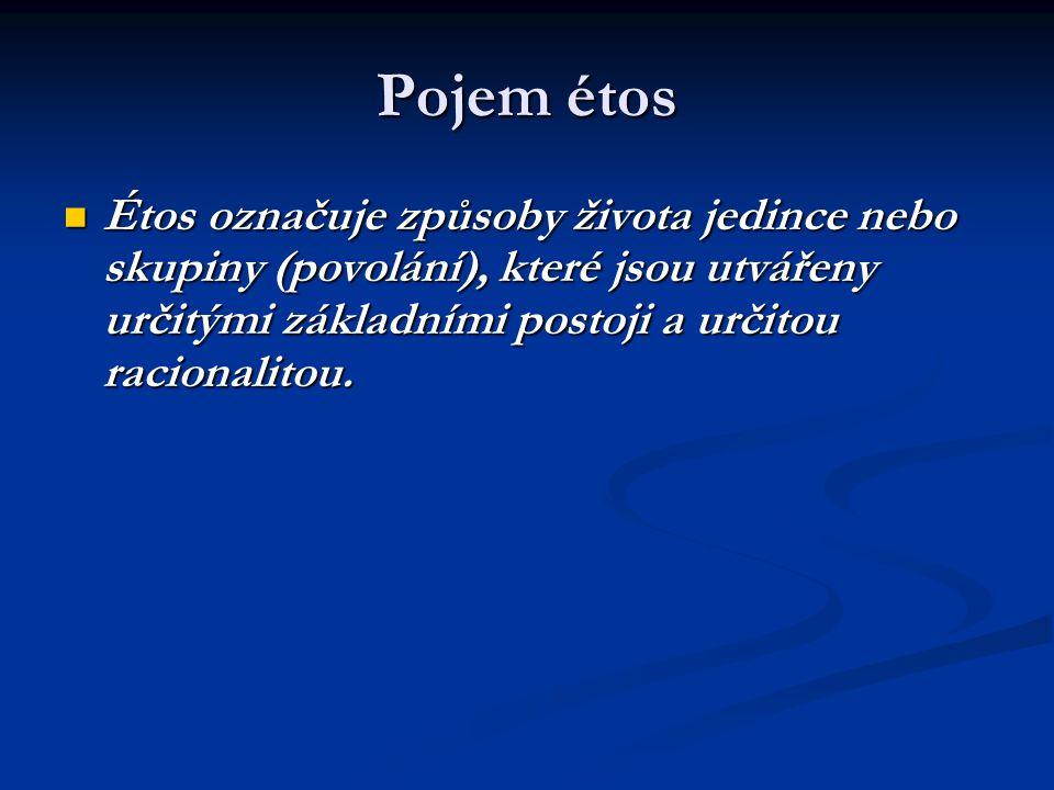 Pojem étos Étos označuje způsoby života jedince nebo skupiny (povolání), které jsou utvářeny určitými základními postoji a určitou racionalitou.