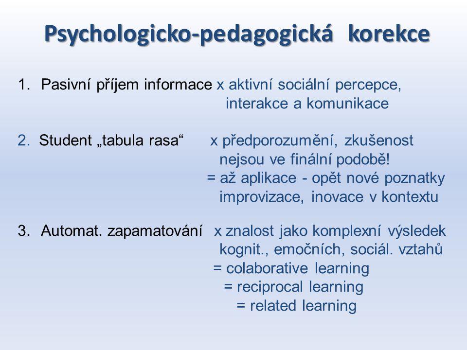 """Psychologicko-pedagogická korekce 1.Pasivní příjem informace x aktivní sociální percepce, interakce a komunikace 2. Student """"tabula rasa"""" x předporozu"""