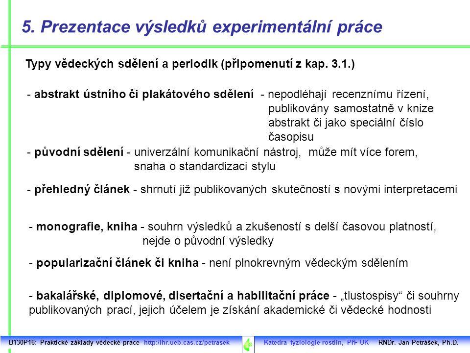B130P16: Praktické základy vědecké práce http:/lhr.ueb.cas.cz/petrasek Katedra fyziologie rostlin, PřF UK RNDr. Jan Petrášek, Ph.D. Typy vědeckých sdě
