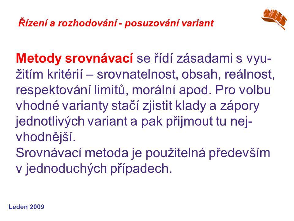 Leden 2009 Metody srovnávací se řídí zásadami s vyu- žitím kritérií – srovnatelnost, obsah, reálnost, respektování limitů, morální apod. Pro volbu vho