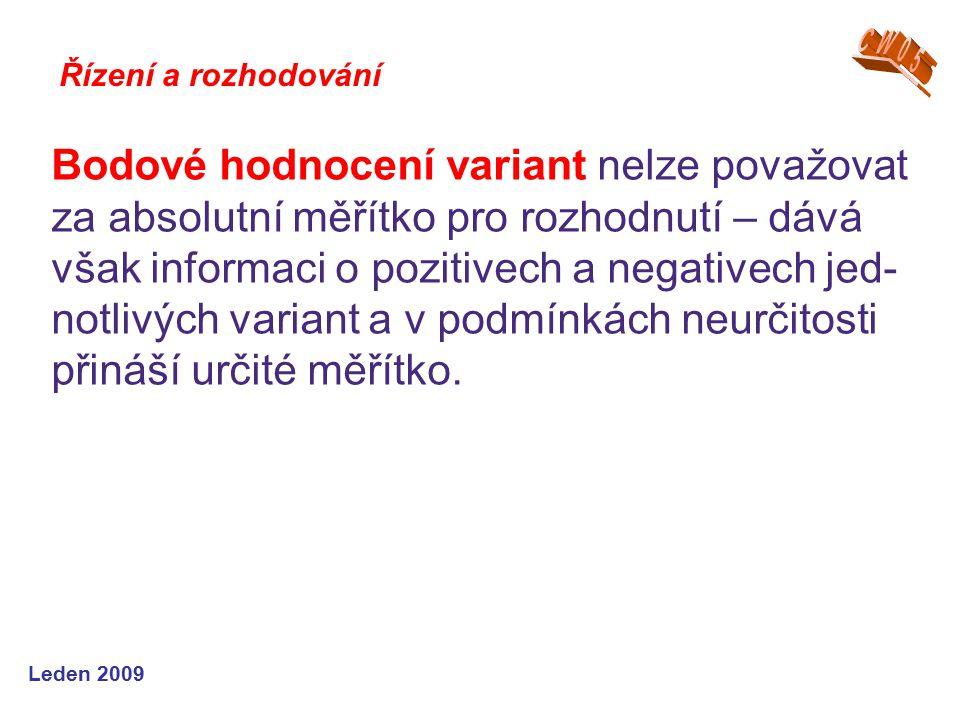 Leden 2009 Bodové hodnocení variant nelze považovat za absolutní měřítko pro rozhodnutí – dává však informaci o pozitivech a negativech jed- notlivých