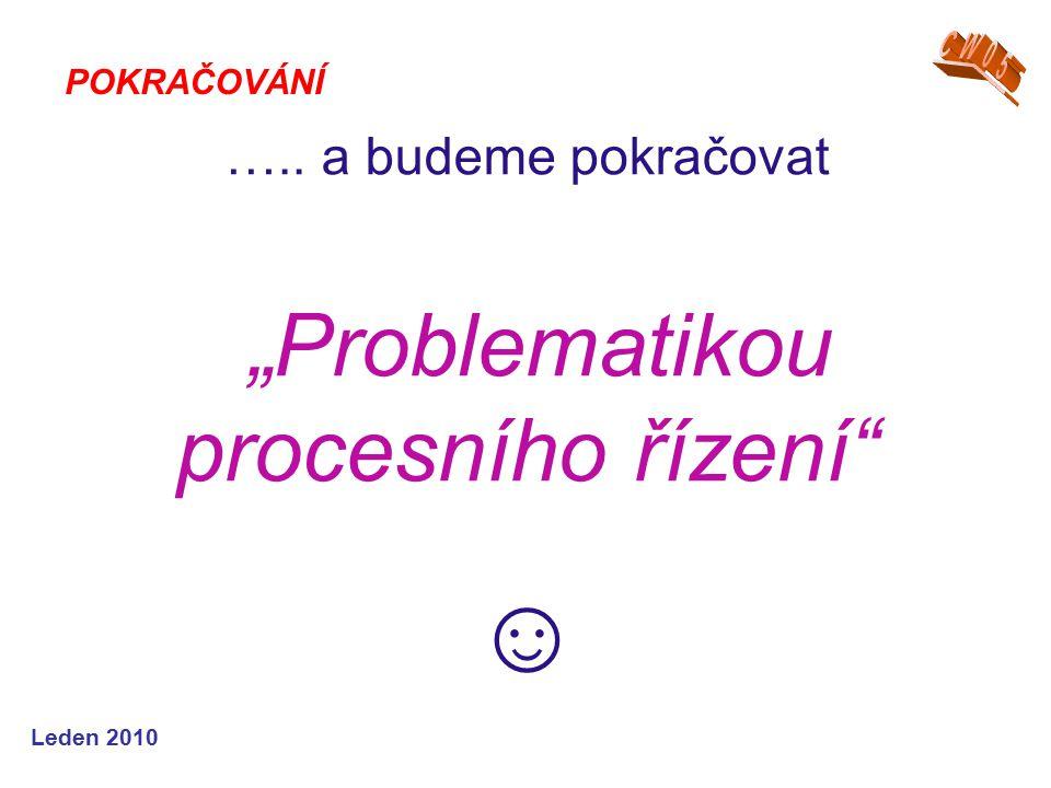 """Leden 2010 ….. a budeme pokračovat """"Problematikou procesního řízení"""" ☺ POKRAČOVÁNÍ"""