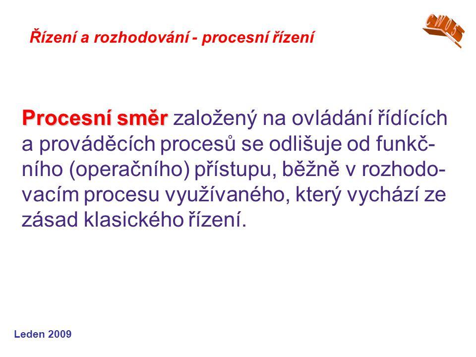 Leden 2009 Řízení a rozhodování - procesní řízení Procesní směr Procesní směr založený na ovládání řídících a prováděcích procesů se odlišuje od funkč