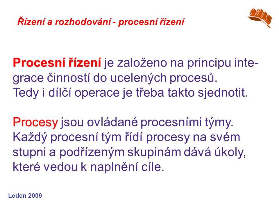 Leden 2009 Řízení a rozhodování - procesní řízení Procesní řízení Procesní řízení je založeno na principu inte- grace činností do ucelených procesů. T