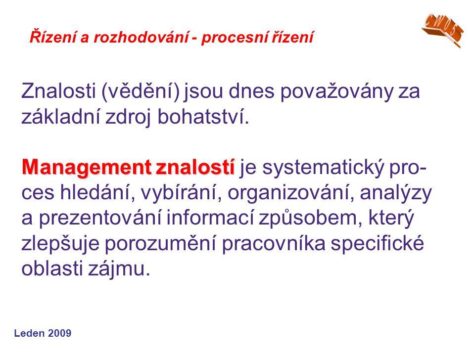 Leden 2009 Řízení a rozhodování - procesní řízení Znalosti (vědění) jsou dnes považovány za základní zdroj bohatství. Management znalostí Management z
