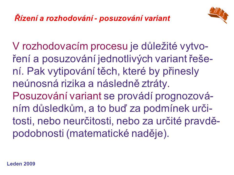 Leden 2009 V rozhodovacím procesu je důležité vytvo- ření a posuzování jednotlivých variant řeše- ní. Pak vytipování těch, které by přinesly neúnosná