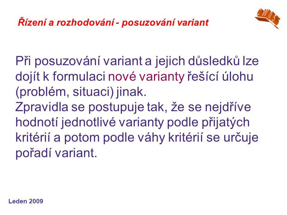 Leden 2009 Při posuzování variant a jejich důsledků lze dojít k formulaci nové varianty řešící úlohu (problém, situaci) jinak. Zpravidla se postupuje