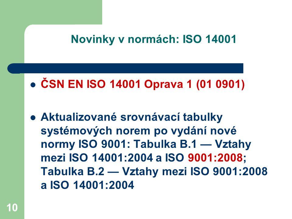 10 Novinky v normách: ISO 14001 ČSN EN ISO 14001 Oprava 1 (01 0901) Aktualizované srovnávací tabulky systémových norem po vydání nové normy ISO 9001: Tabulka B.1 — Vztahy mezi ISO 14001:2004 a ISO 9001:2008; Tabulka B.2 — Vztahy mezi ISO 9001:2008 a ISO 14001:2004