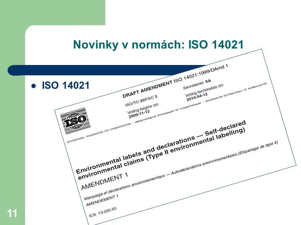 11 Novinky v normách: ISO 14021 ISO 14021