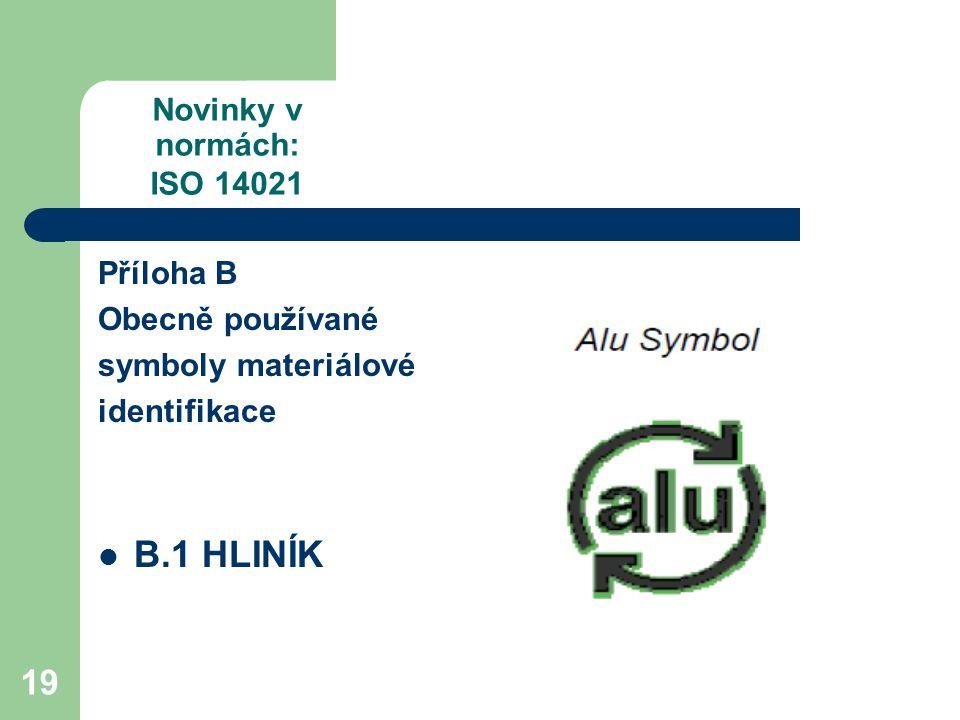 19 Novinky v normách: ISO 14021 Příloha B Obecně používané symboly materiálové identifikace B.1 HLINÍK