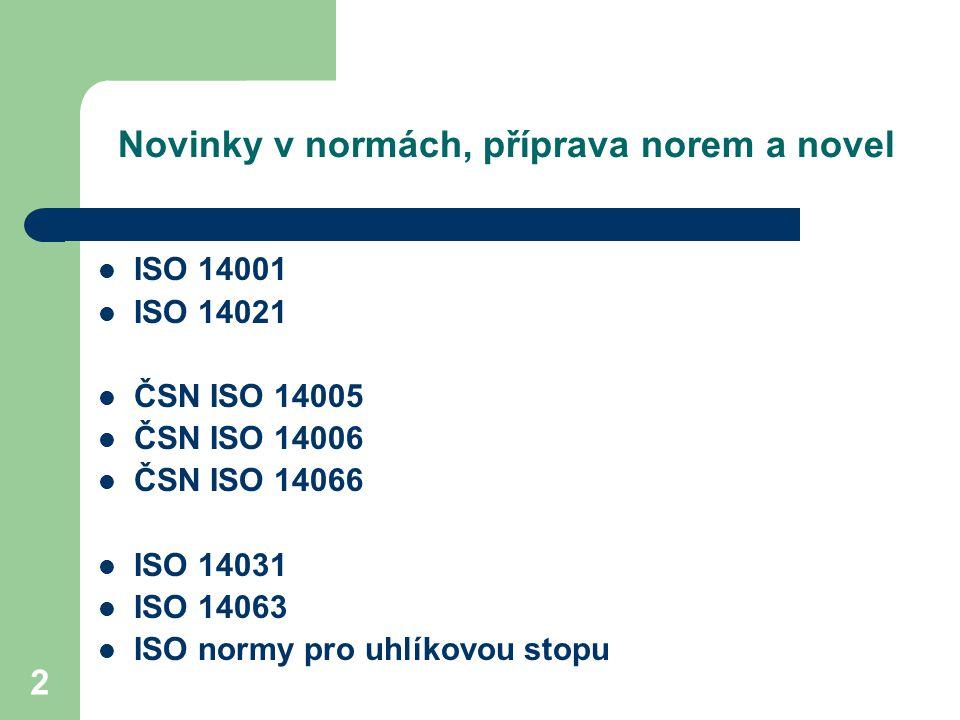 53 Příprava novel: ISO 14031 ISO 14031 ČSN EN ISO 14031:2000 (01 0931) Environmentál ní management – Hodnocení environmentálního profilu – Směrnice ISO TC207/SC4 (Environmentální profil / výkonnost) Pravidelná revize, 17 stran komentářů