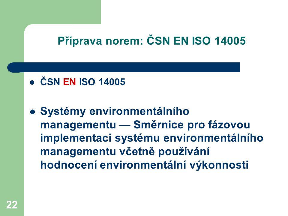 22 Příprava norem: ČSN EN ISO 14005 ČSN EN ISO 14005 Systémy environmentálního managementu — Směrnice pro fázovou implementaci systému environmentálního managementu včetně používání hodnocení environmentální výkonnosti