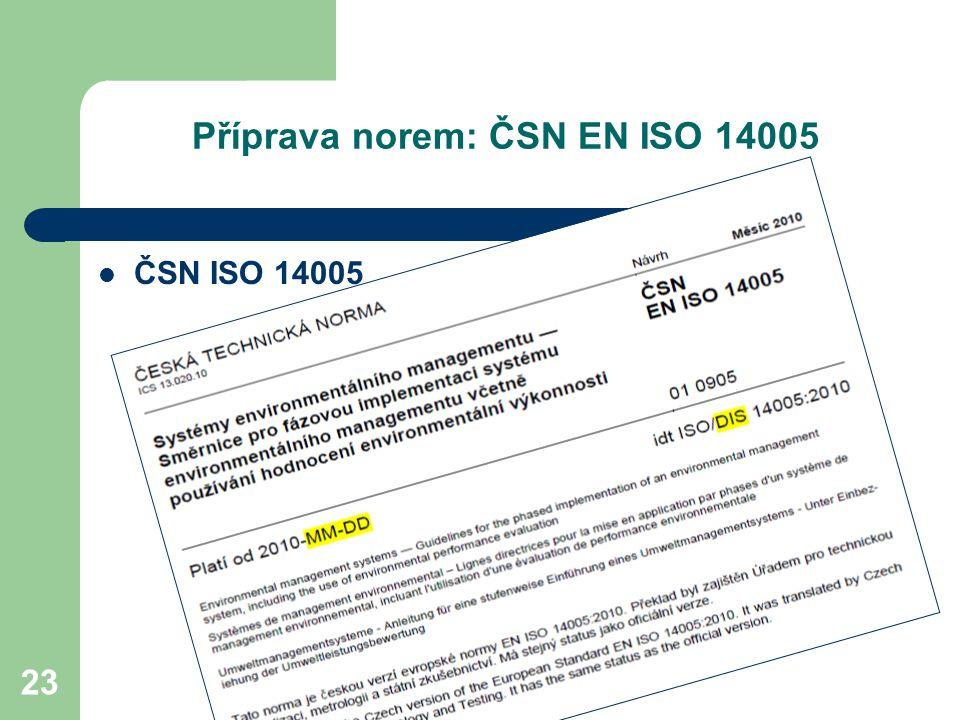 23 Příprava norem: ČSN EN ISO 14005 ČSN ISO 14005