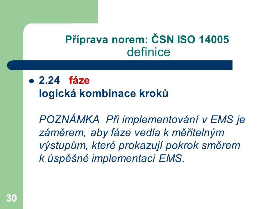 30 Příprava norem: ČSN ISO 14005 definice 2.24 fáze logická kombinace kroků POZNÁMKA Při implementování v EMS je záměrem, aby fáze vedla k měřitelným výstupům, které prokazují pokrok směrem k úspěšné implementaci EMS.