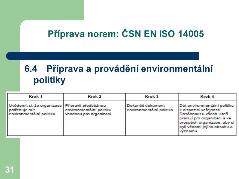 31 Příprava norem: ČSN EN ISO 14005 6.4 Příprava a provádění environmentální politiky
