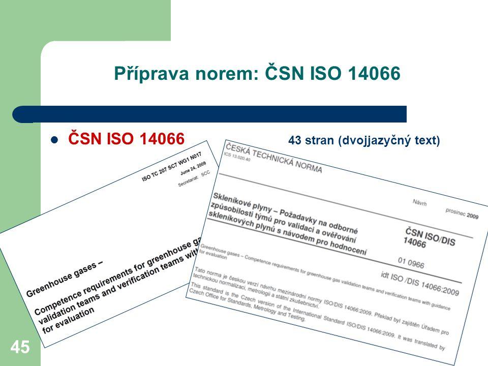 45 Příprava norem: ČSN ISO 14066 ČSN ISO 14066 43 stran (dvojjazyčný text)