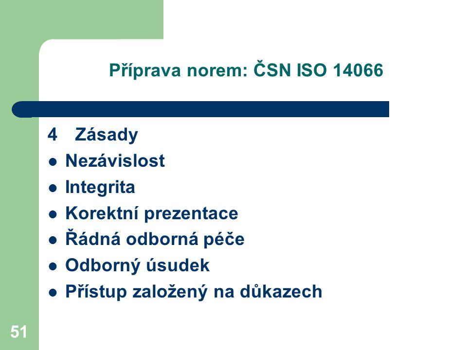 51 Příprava norem: ČSN ISO 14066 4 Zásady Nezávislost Integrita Korektní prezentace Řádná odborná péče Odborný úsudek Přístup založený na důkazech