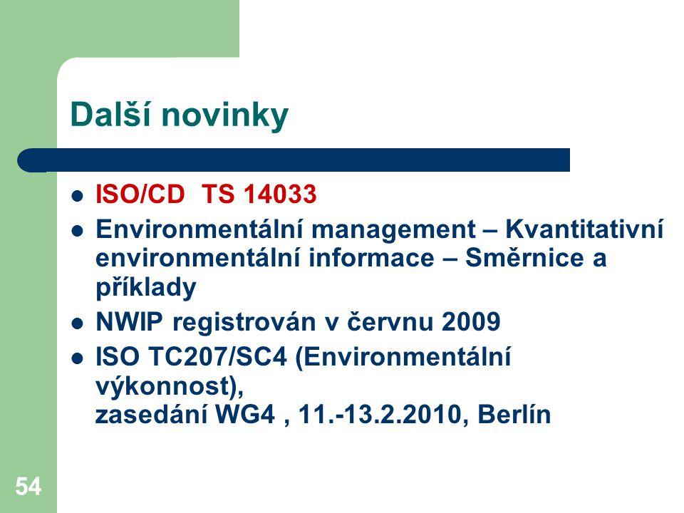 54 Další novinky ISO/CD TS 14033 Environmentální management – Kvantitativní environmentální informace – Směrnice a příklady NWIP registrován v červnu 2009 ISO TC207/SC4 (Environmentální výkonnost), zasedání WG4, 11.-13.2.2010, Berlín