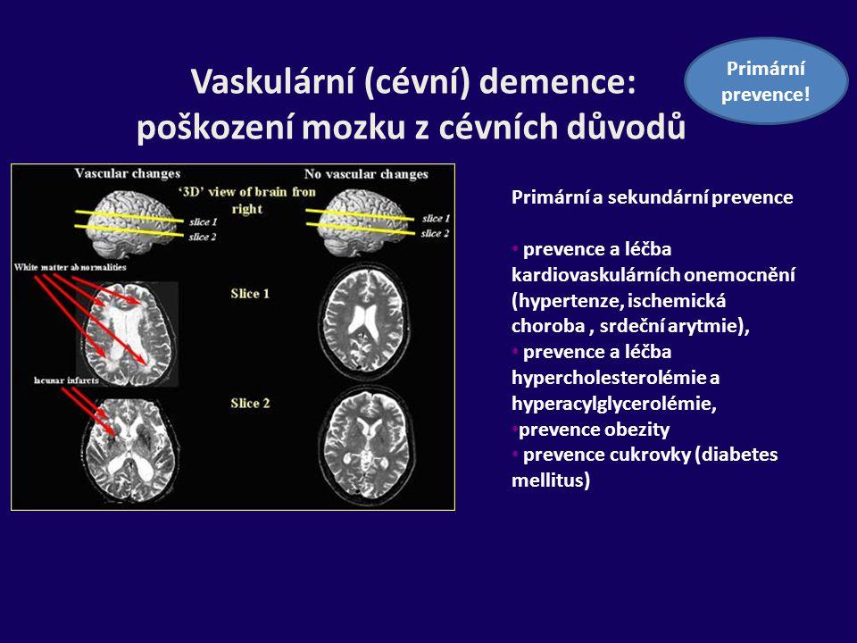Vaskulární (cévní) demence: poškození mozku z cévních důvodů Primární a sekundární prevence prevence a léčba kardiovaskulárních onemocnění (hypertenze