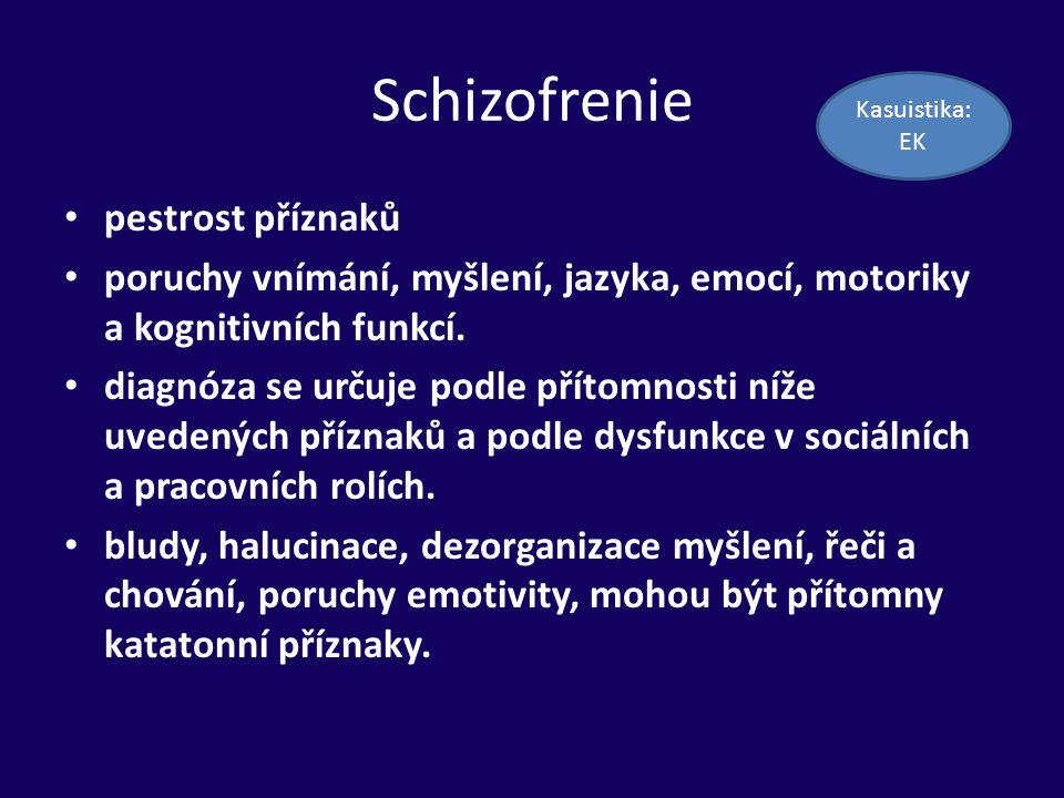 Schizofrenie pestrost příznaků poruchy vnímání, myšlení, jazyka, emocí, motoriky a kognitivních funkcí. diagnóza se určuje podle přítomnosti níže uved