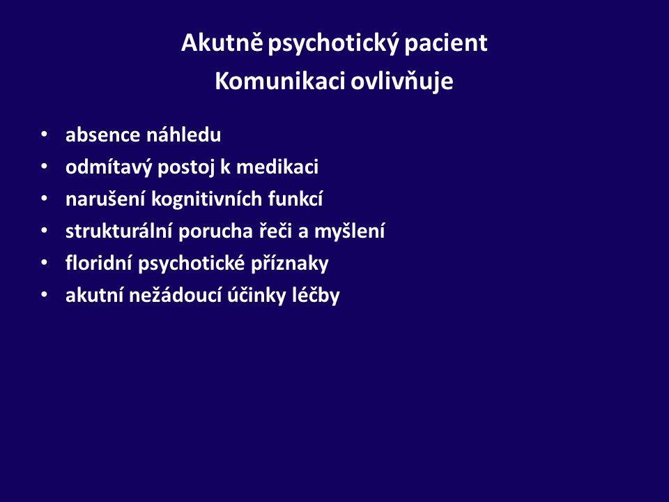 Akutně psychotický pacient Komunikaci ovlivňuje absence náhledu odmítavý postoj k medikaci narušení kognitivních funkcí strukturální porucha řeči a my