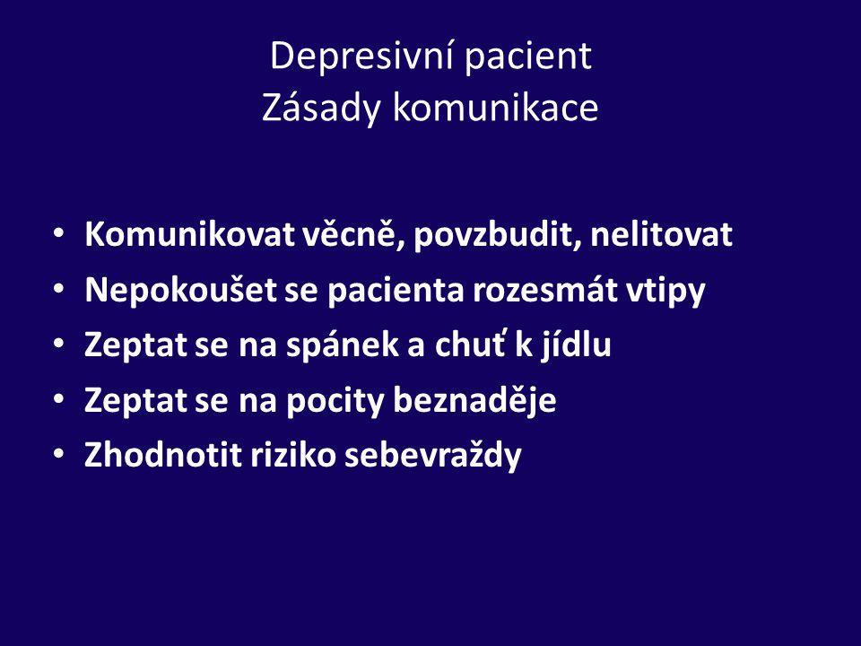 Depresivní pacient Zásady komunikace Komunikovat věcně, povzbudit, nelitovat Nepokoušet se pacienta rozesmát vtipy Zeptat se na spánek a chuť k jídlu