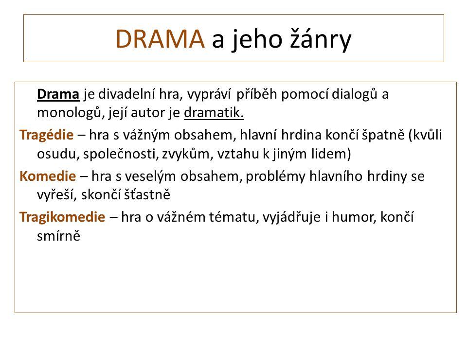 DRAMA a jeho žánry Drama je divadelní hra, vypráví příběh pomocí dialogů a monologů, její autor je dramatik.