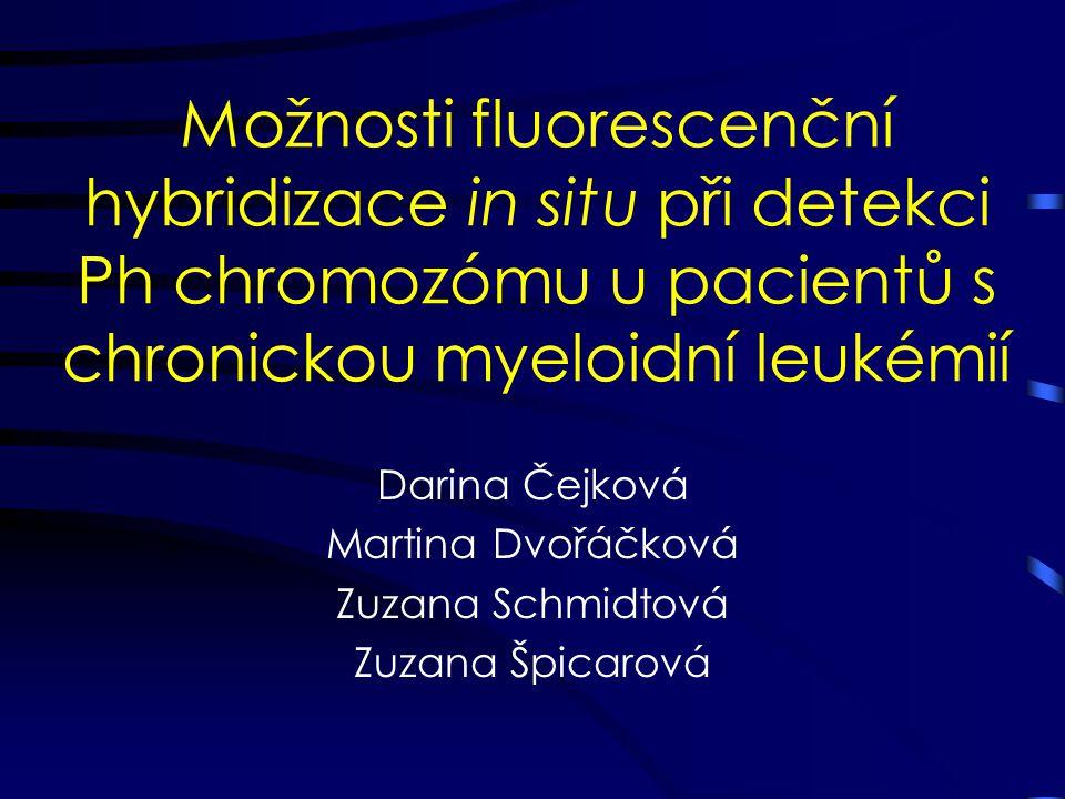 Možnosti fluorescenční hybridizace in situ při detekci Ph chromozómu u pacientů s chronickou myeloidní leukémií Darina Čejková Martina Dvořáčková Zuza