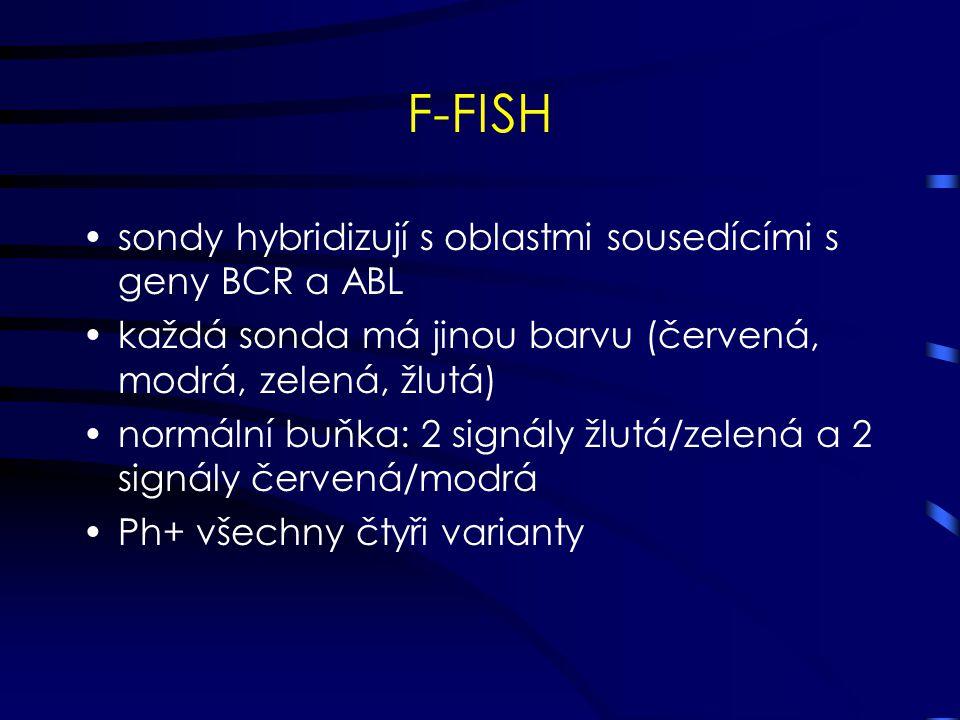 F-FISH sondy hybridizují s oblastmi sousedícími s geny BCR a ABL každá sonda má jinou barvu (červená, modrá, zelená, žlutá) normální buňka: 2 signály