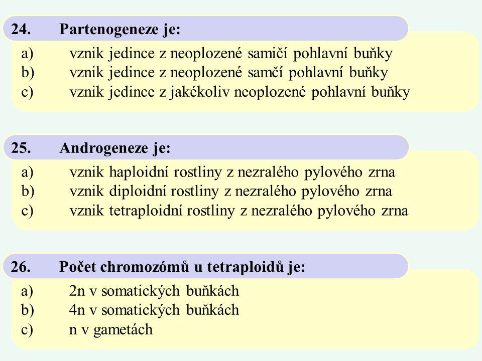 a)vznik jedince z neoplozené samičí pohlavní buňky b)vznik jedince z neoplozené samčí pohlavní buňky c)vznik jedince z jakékoliv neoplozené pohlavní b