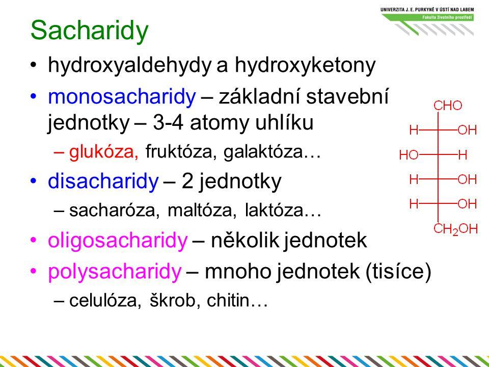 Sacharidy hydroxyaldehydy a hydroxyketony monosacharidy – základní stavební jednotky – 3-4 atomy uhlíku –glukóza, fruktóza, galaktóza…… disacharidy –