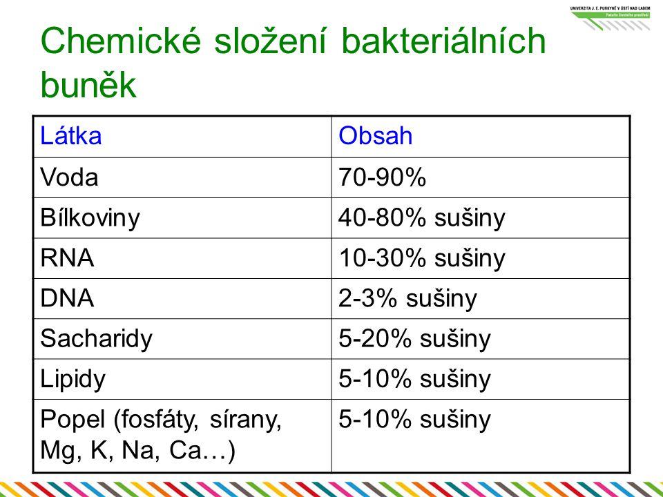 Chemické složení bakteriálních buněk LátkaObsah Voda70-90% Bílkoviny40-80% sušiny RNA10-30% sušiny DNA2-3% sušiny Sacharidy5-20% sušiny Lipidy5-10% su