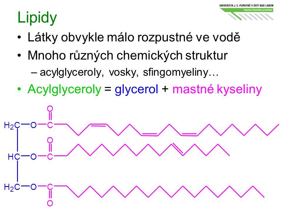 Lipidy Látky obvykle málo rozpustné ve vodě Mnoho různých chemických struktur –acylglyceroly, vosky, sfingomyeliny… Acylglyceroly = glycerol + mastné